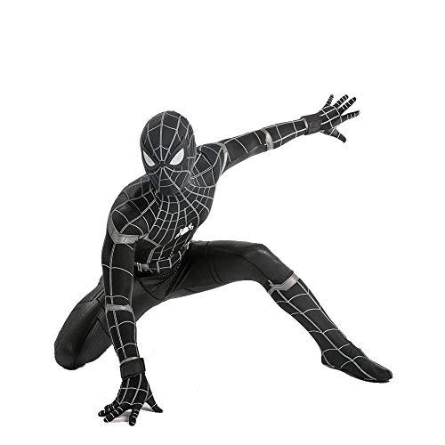 Schwarze Spiderman Kostüm Echte - YXIAOL Schwarzes Spider-Man-Kostüm, Superheldenkostüm Für Kinder, Halloween-Karnevalskostüm, Cosplay-Partykostüm, 3D-Lycra-Strumpfhose - Erwachsene/Kinder,Child-S