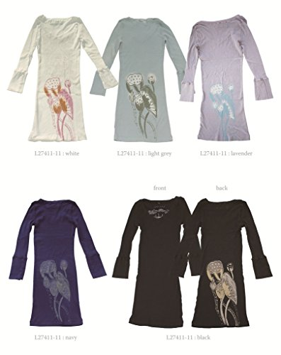 Damen Sporttop, Sport Shirt, Yoga-Top mit 3/4-Ärmel, V-Ausschnitt, Slim-Fit, Lotus-Print von Chakura Meditation Kimono by Ku USA Lavender