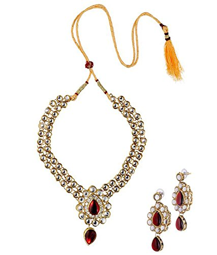 Sitashi Beautiful Multi Color Kundan Polki Necklace Set/Artificial Jewellery for wedding For Women  available at amazon for Rs.299