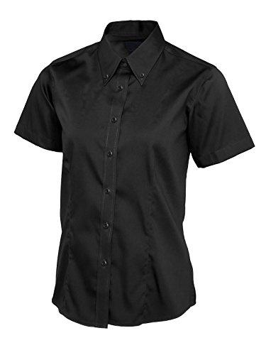 Damen Pinpoint Oxford Short Sleeve Shirt Work Uniform Kellnerin Business [schwarz] [3x l] (Uniform Womens Short Sleeve)