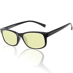 DUCO volle Randbrille ergonomisches Design Computer Gaming mit gelb getönten Gläsern Blaulicht-Schutz Bildschirmbrille 223 (Helles Schwarz)