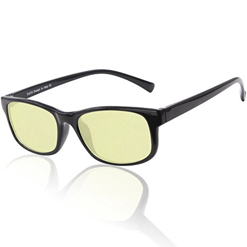Duco Blue Light Blocking Gaming Glasses Ergonomic Advanced Computer Glasses Black Rimmed with Amber Lenses 8016