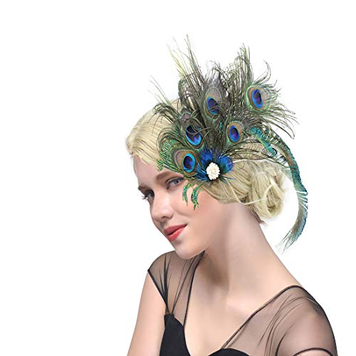dressfan Vintage Flapper Stirnband Pfau Feder Stirnband Cocktail Party Pferde Mädchen Frauen bunt (Mädchen Red Flapper Kostüm)