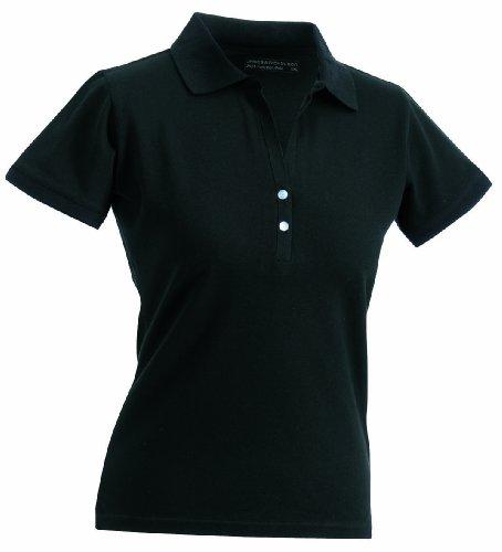 James & Nicholson Polo da donna a maniche corte elasticizzate nero - Nero