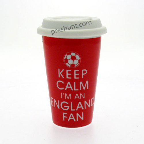 Mugs de Voyage en céramique Double paroi Keep Calm I'm Un Ventilateur Angleterre - Rouge