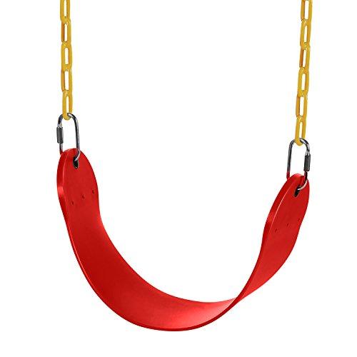 Profun Kinderschaukel elastischer EVA Schaukelsitz ab 3 Jahren Stahlkette mit weicher Sitzfläche Kunststoff Schaukel Outdoor Kinderspielzeug (rot) (Outdoor-schaukel-ersatz)