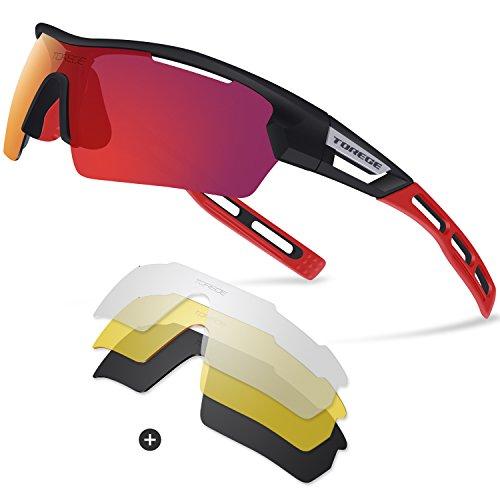 Gepolariseerde sportzonnebrillen, van Torege, TR033, unisex, voor fietsen, hardlopen, vissen, golfen, zwart / rood tips & rode lenzen