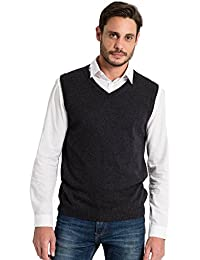 WoolOvers Pull sans manches - Homme - Cachemire & Coton Charcoal, M