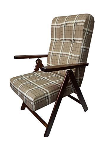Totò piccinni poltrona sedia sdraio molisana lusso in legno reclinabile 4 posizioni (caffè)