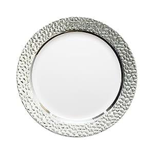 decorline vaisselle de luxe usage unique blanc avec bord en argent effet martel party. Black Bedroom Furniture Sets. Home Design Ideas