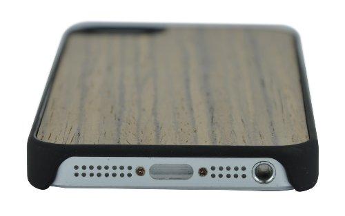 SunSmart Premium Quality Holz Ledertasche Cover für das Apple iPhone 5 5S 5C schwarznuss