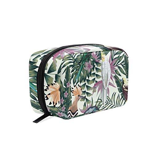 Kosmetiktasche für Damen, Motiv: Tropische Palmen, Papageien, Wellensittiche, Vögel, Blumen, Kosmetiktasche, Reise-Make-up-Tasche