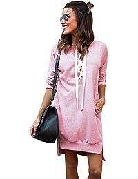 Sweatshirt Damen Lang Lange Pullover Kleid Damen Longpullover Sweat Pullis  Langarm Oversize Long Sweatshirts Kleid Longpullis… 8fc9140b17