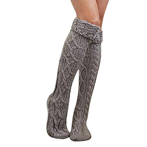 Fenverk Premium Socken Aus Baumwolle Druckfreier Komfortbund MäDchen Damen Frau Schenkel Hoch üBer Dem Knie Lange StrüMpfe Warm(Grau) Blue Suede Wedge