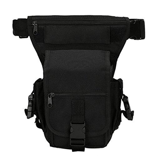 iTECHOR Mehrzweck Abnehmbare Tactical Military Tropfen-Bein-Taillen-Beutel-Reit Tasche für Motorrad-Außen-Fahrrad-Schenkel-Satz-Taillen-Gürteltasche - Schwarz