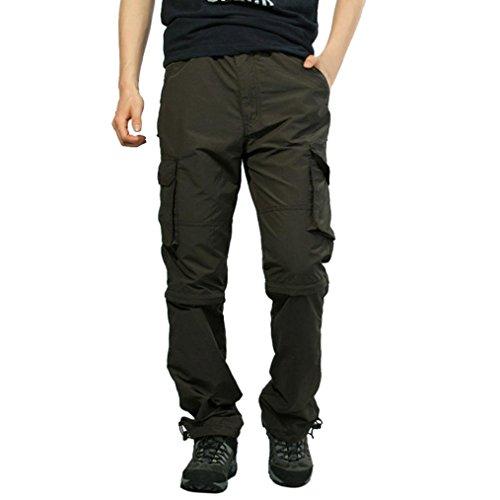 Pantalones de Hombre Pantalones Deportivos Al Aire Libre Secado rápido Pantalones Casuales Sólido Suelto Persona Que Practica Jogging Baile Holgado Overol extraíble LMMVP (M, Ejercito Verde)