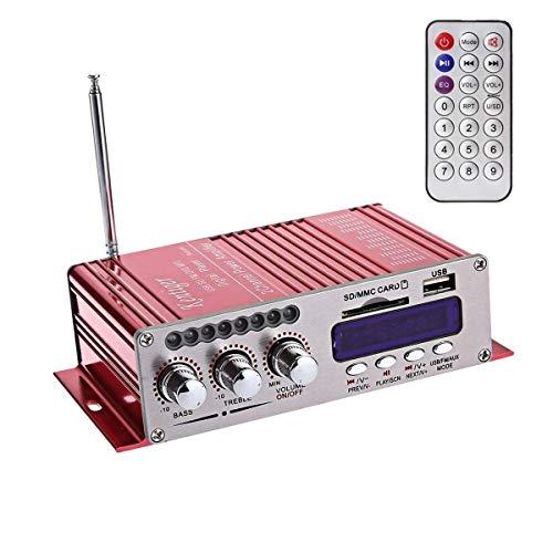 WINGONEER 12V Hi-Fi Stereo amplificador de audio digital de DVD USB SD...