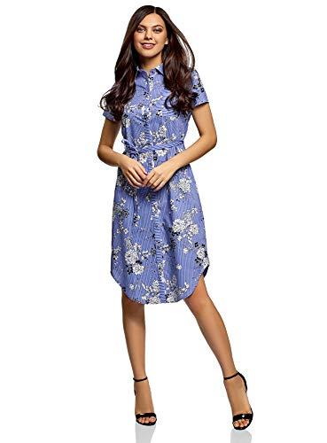 oodji  Bedrucktes Hemdkleid blau gestreift mit Blumenprint