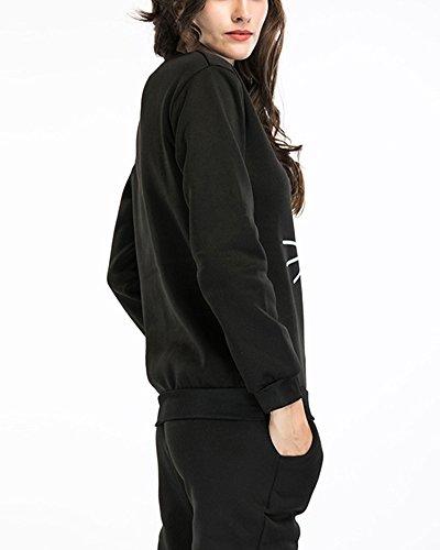 Donna Manica Lunga Abbigliamento Sportivo Felpe Sportive Nero