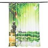 Alicemall Duschvorhang 180x180 Textil Grün Frisch Bambus Schimmelresistenter Wasserabweisender Stoff-Duschvorhang Shower Curtain 180x180cm - Bambus