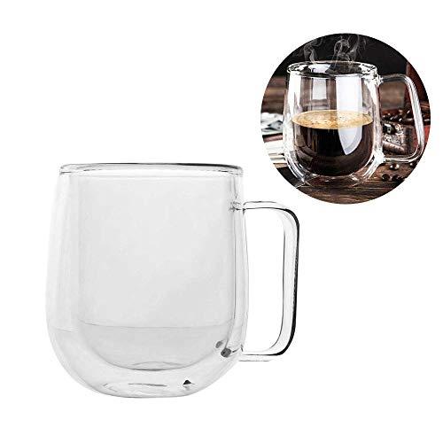 Mug à café transparent double verre résistant à la chaleur qui garde votre boisson chaude et froide en un seul état idéal pour les voitures, bureaux, écoles et appartements.