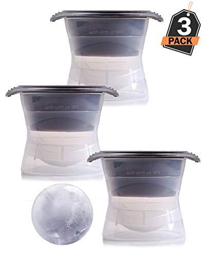 XXL Eiskugelform 3er Set, 6cm Durchmesser - für riesige Eiskugeln, runde Eiswurfelform / Eiswürfel -