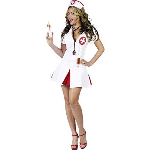 loveorama.de 2-teiliges sexy Krankenschwester-Kostüm – Weiß – Inhalt: Kopfschmuck und Kleid – L (Gr. 44/46)