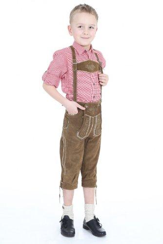 Isar Trachten Jungen Bundlederhose 55809 mittelbraun/ oliv Größe: 140 Farbe: OLIV-BRA