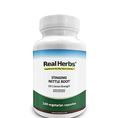 Real Herbs Stinging Nettle Root Extract 750mg (1 percent Silica) Promotes Prostate and Urinary Tract Health, Potent Antioxidant and Increases Testosterone 100 Vegetarian Capsules from Real Herbs