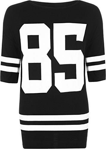 WearAll - Damen 85 Übergrößen Sackartige Baseball drucken Kurzarm T-Shirt Top - Schwarz - 44-46 -