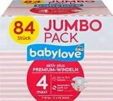 babylove Windeln Premium aktiv plus Größe 4, maxi 7-18kg, Jumbo Pack 2x42 Stück, 84 St