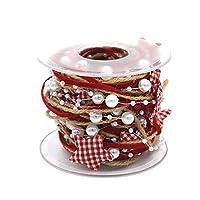 Febbya Christmas Ribbon,Star and Pearl Pattern String 5m Xmas Gift Wrapping Ribbons Roll for Christmas Decoration Art Craft DIY