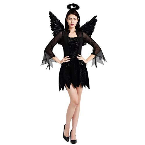 thematys Schwarzer Engel Engelskostüm Kostüm-Set für Damen - perfekt für Cosplay, Karneval & Halloween - Einheitsgröße 160-180cm (Frauen Kostüme Engel)