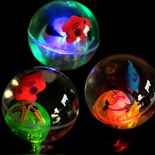 PowerBH Blinklicht Leuchten hohe springenden Kugeln mit Seil Transparente Fische im Inneren LED-Lampe Blitzball 1PC in zufälliger Farbe