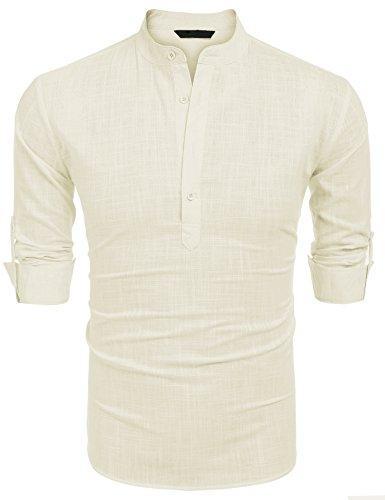 Burlady Burlady Herren Hemd Kurzarm Langarm Leinenhemd Kariert Sommer Freizeit Men´s Shirt (S, Beige-L)