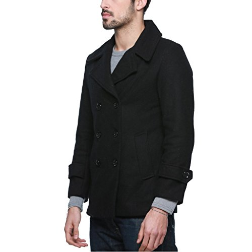 OCHENTA Herren Mantel Winterjacke Trenchcoat Warm Regular Fit Doppelreiher #010 Schwarz