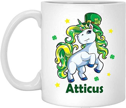 Tea Mug, White, Atticus Mug Atticus Mugs Unicorn Personalized Custom Name White 11 Oz Coffee Cup Unicorn Shamrock St Patricks Day