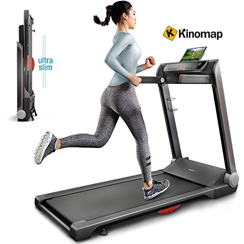 Sportstech FX300 Ultra Slim Laufband Easy-Folding+ kein Aufbau+ Riesige Lauffläche 510x1220mm, 16 km/h+ App, USB Ladeport, Tablet-Holder, Heimtrainer klappbar, Pulsgurt kompatibel für Cardio Training