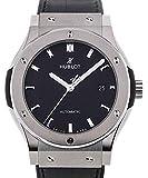 Hublot clásico fusión Negro Dial Negro Cuero Reloj 511nx1171lr