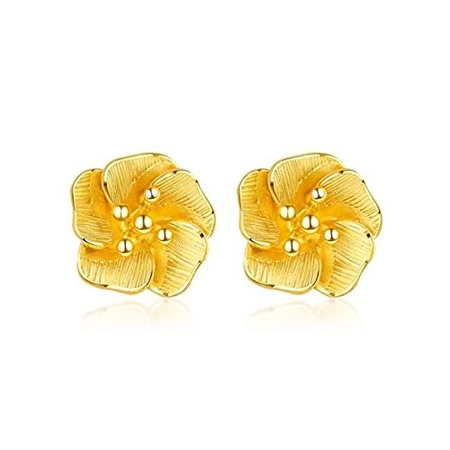 Beydodo Echtschmuck 24 Karat (999) Gelbgold Ohrstecker Ohrringe für Damen Blumen Gold Ohrringe Hochzeit für Braut