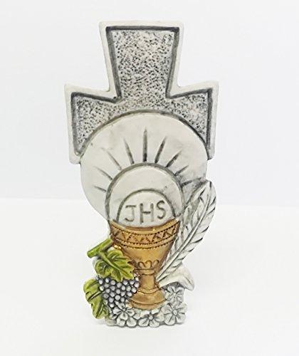 Takestop® set 12 pezzi bomboniera bomboniere croce comunione eucarestia sacra sacramento calice bianco ceramica soprammobile appoggio