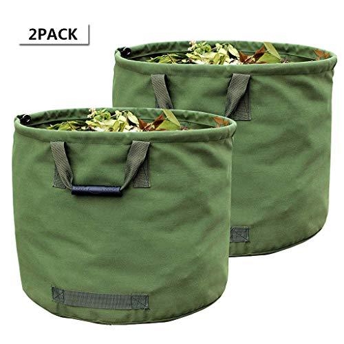 WHT 2-Stück 125L Gartenabfallsäcke für Schwere Aufgaben mit Griffen, Grüne Laubsack mit Militärischem Segeltuchgewebe (H45.7 cm, D55.8 cm)