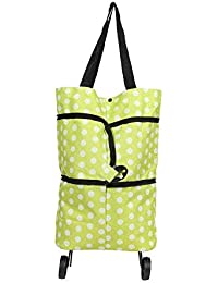 1E-Way Shopping Trolley Bag With Foldable Wheels Oxford Shopping Tote Bag Grocery Trolley Bags Handbag For Women...