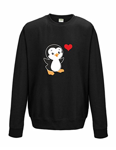 Sweatshirt Shirt Pullover Pulli Unisex Penguin Heart Herz Pinguin (XL) (Leichte Pinguin)