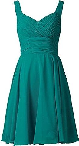 HUINI Falte kurz Ballkleider Chiffon Kleid der Brautjungfer Hochzeitskleid Ballkleider Jade 36