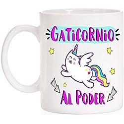 MardeTé Taza Gaticornio al Poder. Taza Divertida de Gatos Que Son Unicornios.