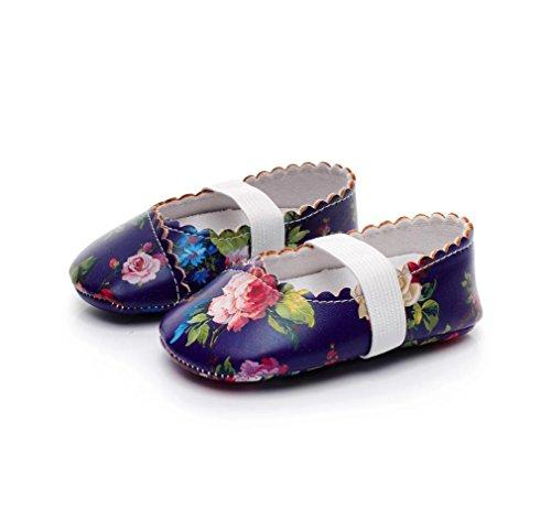 Cyond Fashion Floral Printing Walkers Prinzessin Ballett Solide Weiche Sohle Anti-Rutsch-Schuhe (18M, Lila) (Weiß 4 Ferse 1/2)