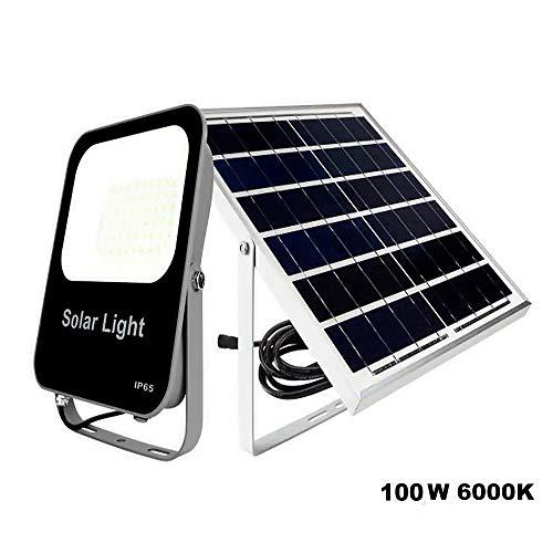 POPP®Foco Solar Exterior,lluminacion Solar,100W LED 6000K IP65 Impermeable,Lampara Solar para Jardin,Garaje,Acera,Escalera,Patios Terrazas[Clase...