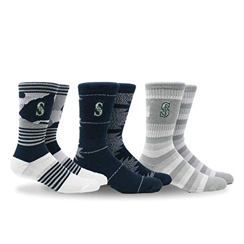 PKWY by Stance MLB Herren Clubhouse Collection 3er-Pack Socken, Unisex, Multi, Large Seattle Mariners Team-design