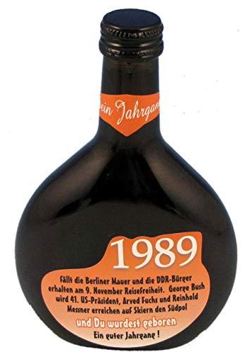 QUATSCHmanufaktur Bocksbeutel zum 30. Geburtstag (für Jahrgang 1989) Rotwein 0,25 l